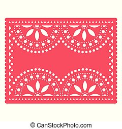 Papel Picado templater vector design, Mexican cut out paper decorations with flowers and geometric shapes - greeting card, invitation