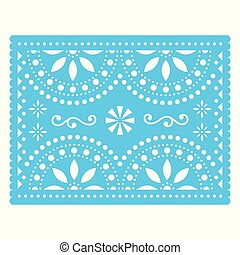 Papel Picado vector design, Mexican cut out paper decorations with flowers and geometric shapes, traditional fiesta banner in blue