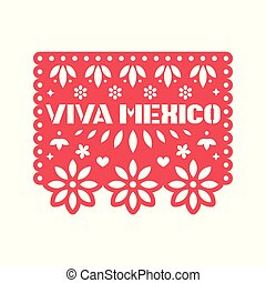 Papel Picado vector design template.