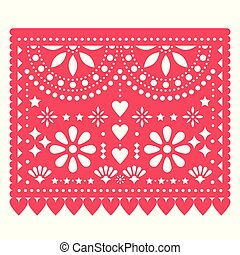 Papel Picado vector floral template design with abstract shapes, Mexican paper decorations pattern in pink red, traditional fiesta banner