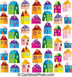 papel pintado, casas, ilustración