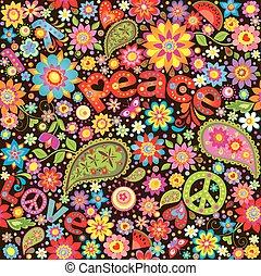 papel pintado, con, hippie, simbólico