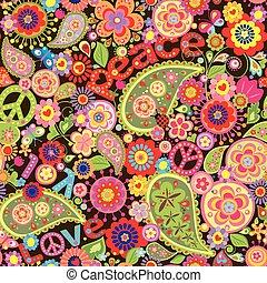 papel pintado, hippie