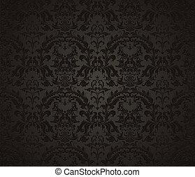 papel pintado, negro, seamless, patrón