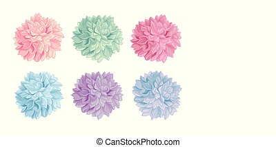 papel pintado, pastel, poms., conjunto, colorido, pom,...