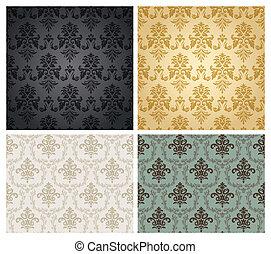 papel pintado, pattern., seamless, damasco