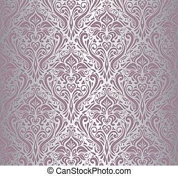 papel pintado, plata, vendimia, y, rosa
