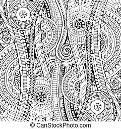 papel pintado, ser, colorido, niños, paisley., vector, étnico, llena, utilizado, garabato, adults., libros, negro, lata, pauta fondo, flores, páginas, doodles, white.