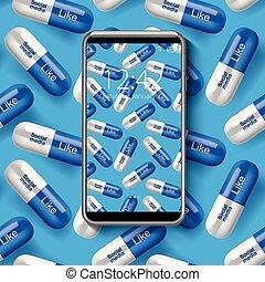 papel pintado, smartphone, illustration., colorido, concepto, medios, seamless, patrón, vector, social, adicción, píldoras