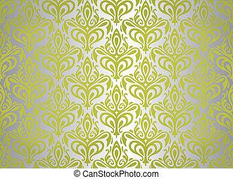 papel pintado, verde, plata, vendimia, y