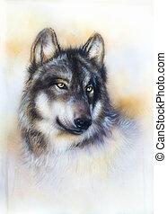 papel, pintura, plano de fondo, lobo, lona, color, multicolo