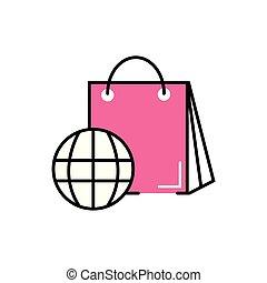 papel, planeta, esfera, bolso de compras