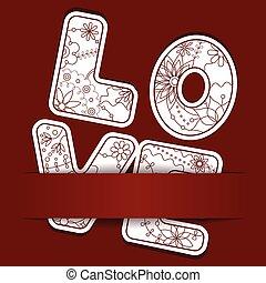 papel, plano de fondo, con, letras, amor
