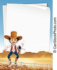 papel, plantilla, con, vaquero, arma de fuego de tiroteo