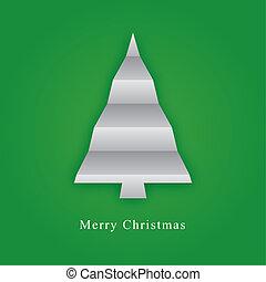 papel, pliegue, hecho, árbol, navidad