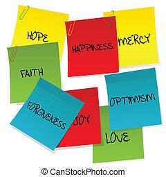 papel, positivo, notas, jogo, palavras