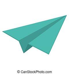 papel, pretas, linear, avião, ícone