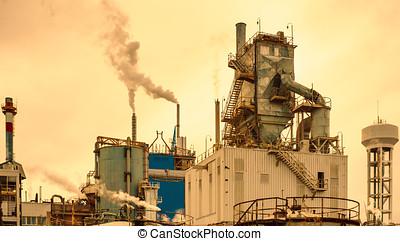 papel, procesamiento, fábrica, vista exterior