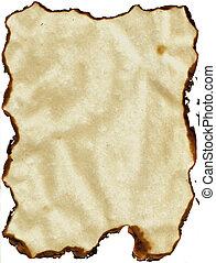 papel, queimado, bordas