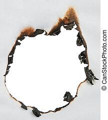 papel, quemado, agujero