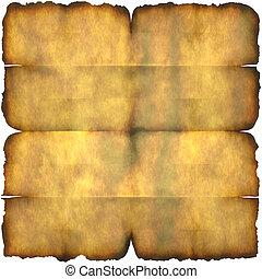 papel, quemado, pergamino