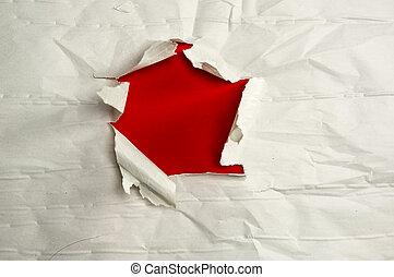 papel rasgado, com, espaço cópia