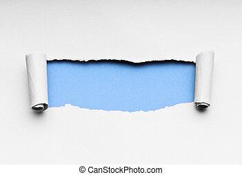 papel rasgado, com, espaço, para, seu, mensagem
