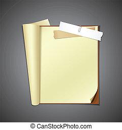 papel, rasgado, libro, abierto
