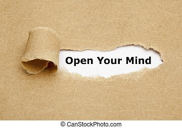 papel rasgado, mente, seu, abertos