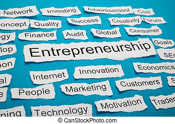 papel, rasgado, palabra, pedazo, entrepreneurship