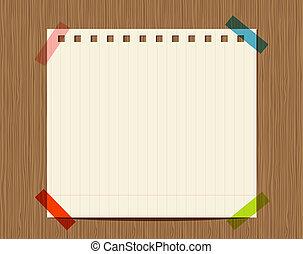papel rayado, de, cuaderno, en, pared de madera, insertar,...