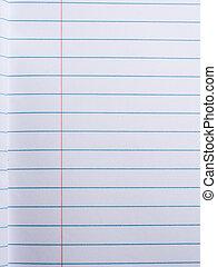 papel rayado, en, cuaderno