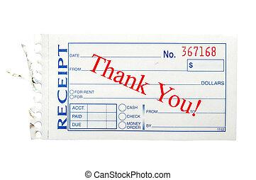 """papel, recibo, con, """"thank, you"""", texto"""