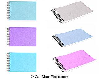 papel, recicle, multicolor, jogo, caderno