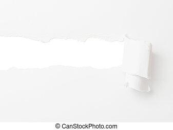 papel roto, bandera, aislado, blanco
