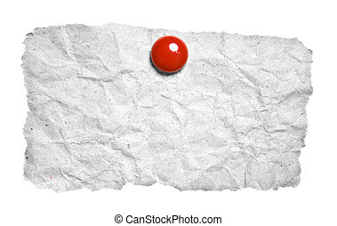 papel roto, con, rojo, clip