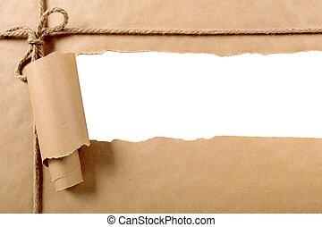 papel roto, paquete, tira