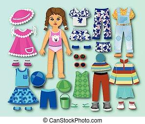 papel, roupas, papelão, crianças, boneca