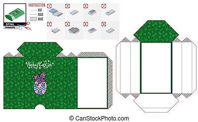 papel, roxo, caixa, borboleta, verde, modelo