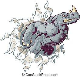 papel, saída, rasgando, fundo, rinoceronte
