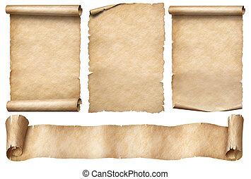 papel, scrolls, fita, branca, antigas, isolado, bandeira, jogo
