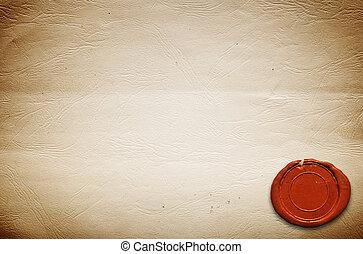 papel, selo, em branco, antigas, cera