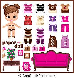 papel, set., vetorial, roupas, boneca