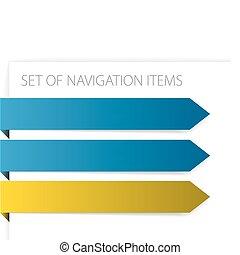 papel, setas, -, modernos, navegação, itens