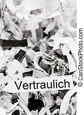 papel shredded, keyword, confidencial