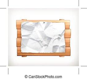 papel, sinal, madeira