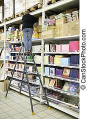 papel, stepladder, mujer, almacenamiento