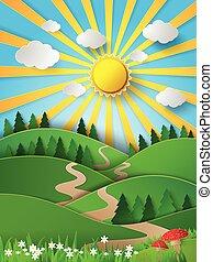 papel, sunligh, colina, vetorial, brilho