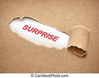 papel, surpresa, atrás de, rasgado, palavra