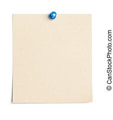 papel, tachuela, pulgar, vacío, pedazo